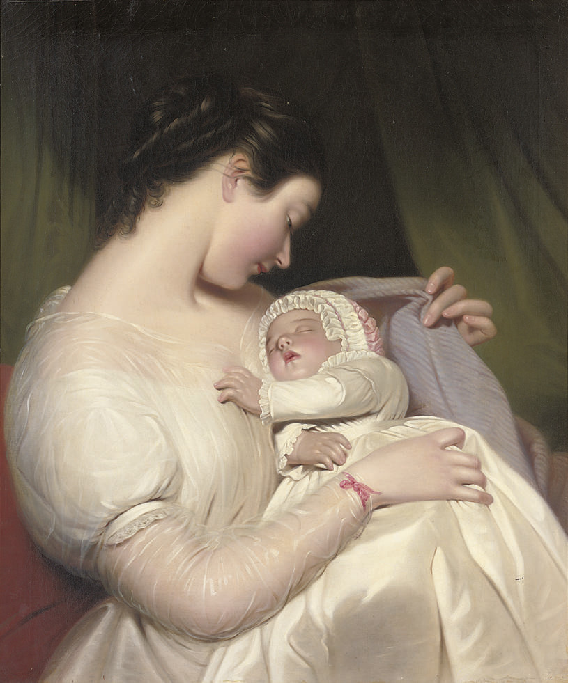 The artist's wife Elizabeth with their daughter Mary Edith