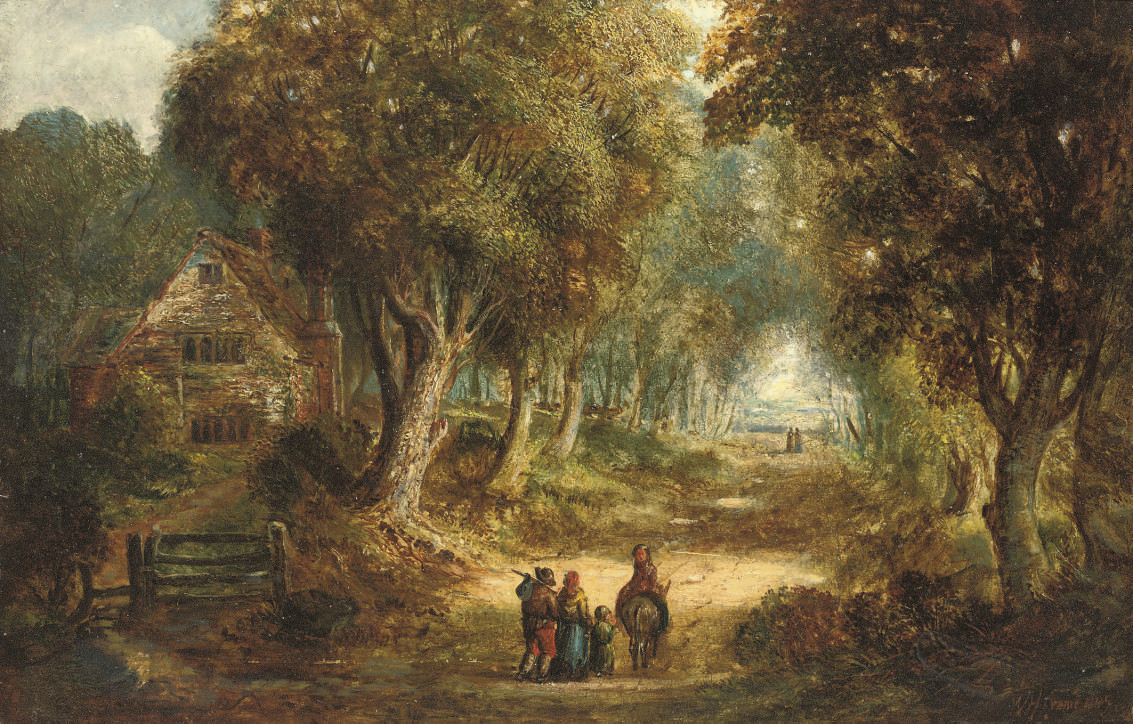Travellers on a wooded lane, a cottage beyond