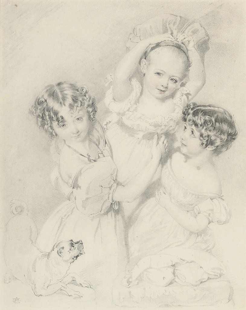 Three children playing with a pug
