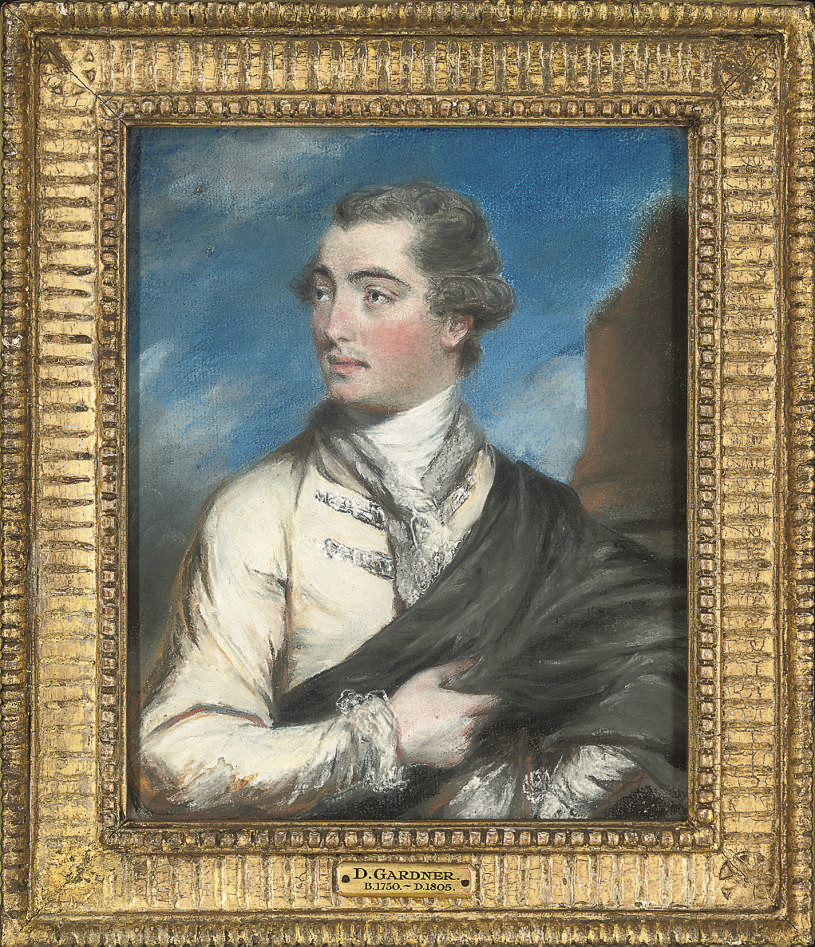 Portrait of a gentleman, thought to be Edward Madden Esq, half-length, wearing a black cloak, standing by a column