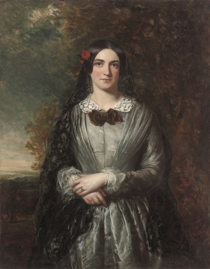 Portrait of Kathleen, three-quarter-length, a landscape beyond