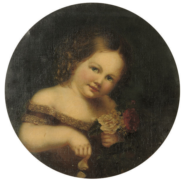 Portrait of Constantine James, bust-length, holding red and white roses