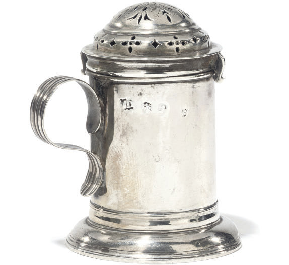 A QUEEN ANNE SILVER KITCHEN PEPPER
