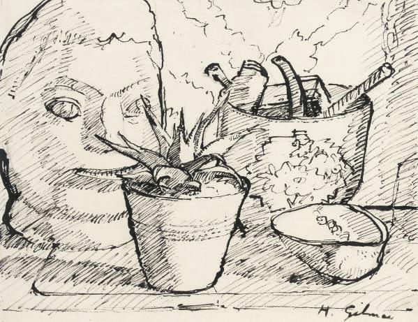 Still life with stone head by Henri Gaudier-Brzeska