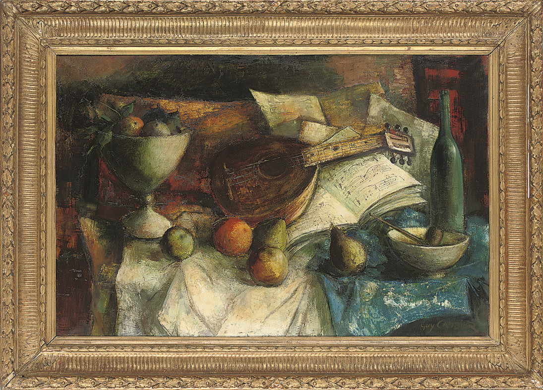 A bowl of fruit, mandolin, sheets of music and a pipe on a draped table