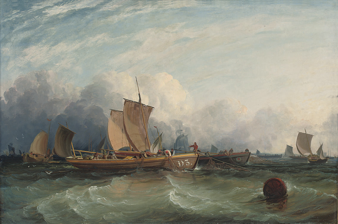 Dublin fishermen hauling in the nets