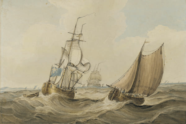 A cutter passing a Royal Navy storeship in a swell