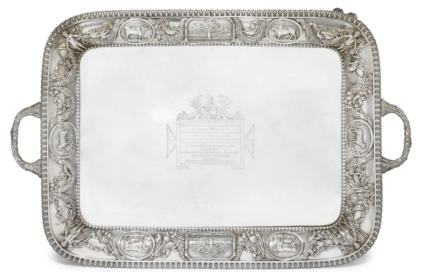 AN IMPOSING GEORGE III SILVER AGRICULTURAL PRIZE TWO-HANDLED TRAY