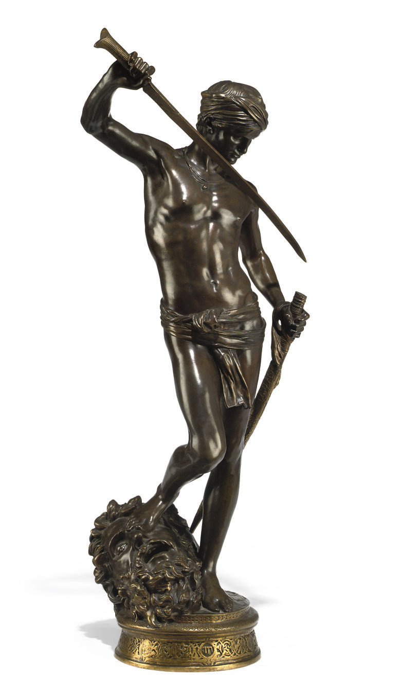 A FRENCH BRONZE MODEL OF 'DAVID VAINQUER'