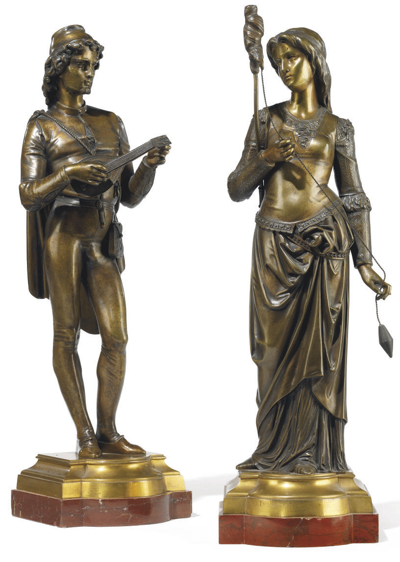A PAIR OF BRONZE MODELS OF COURTIER AND A MAIDEN SPINNING WOOL