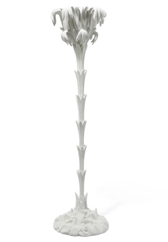 A PAINTED WOOD FLOOR LAMP,