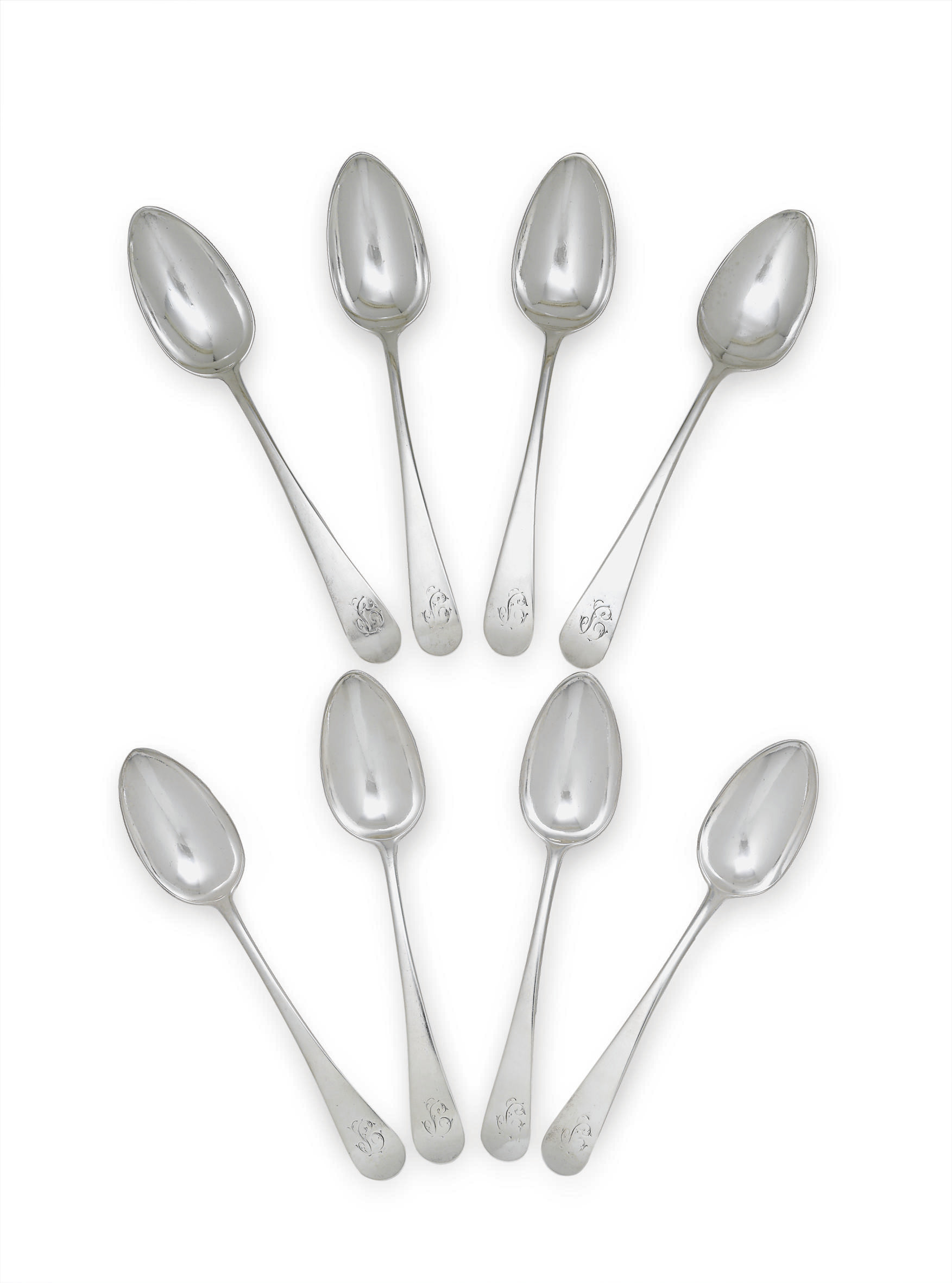 A RARE SET OF EIGHT SILVER TABLESPOONS