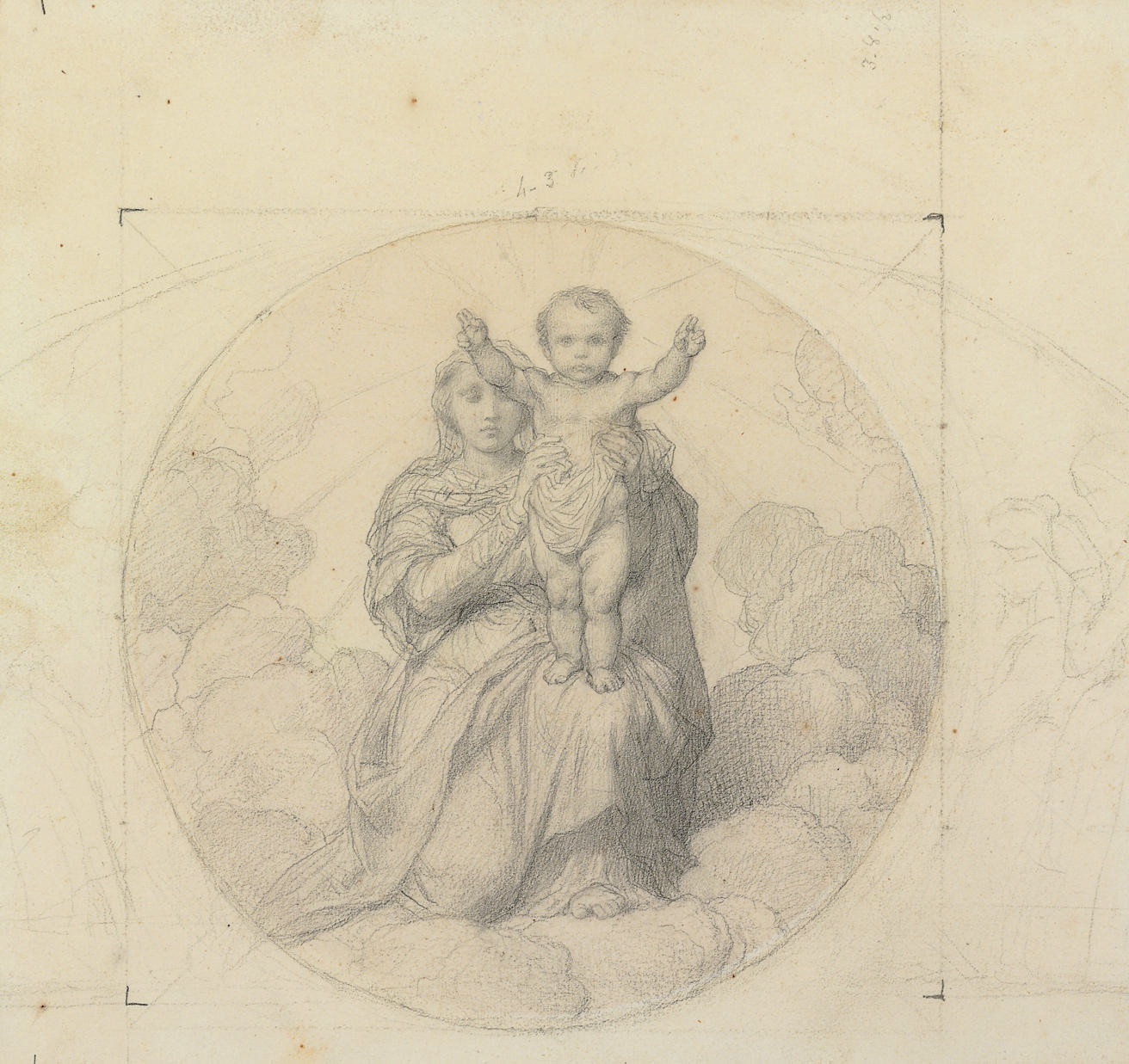 The Virgin and Child, inscribed in a circle, with lightly indicated angels