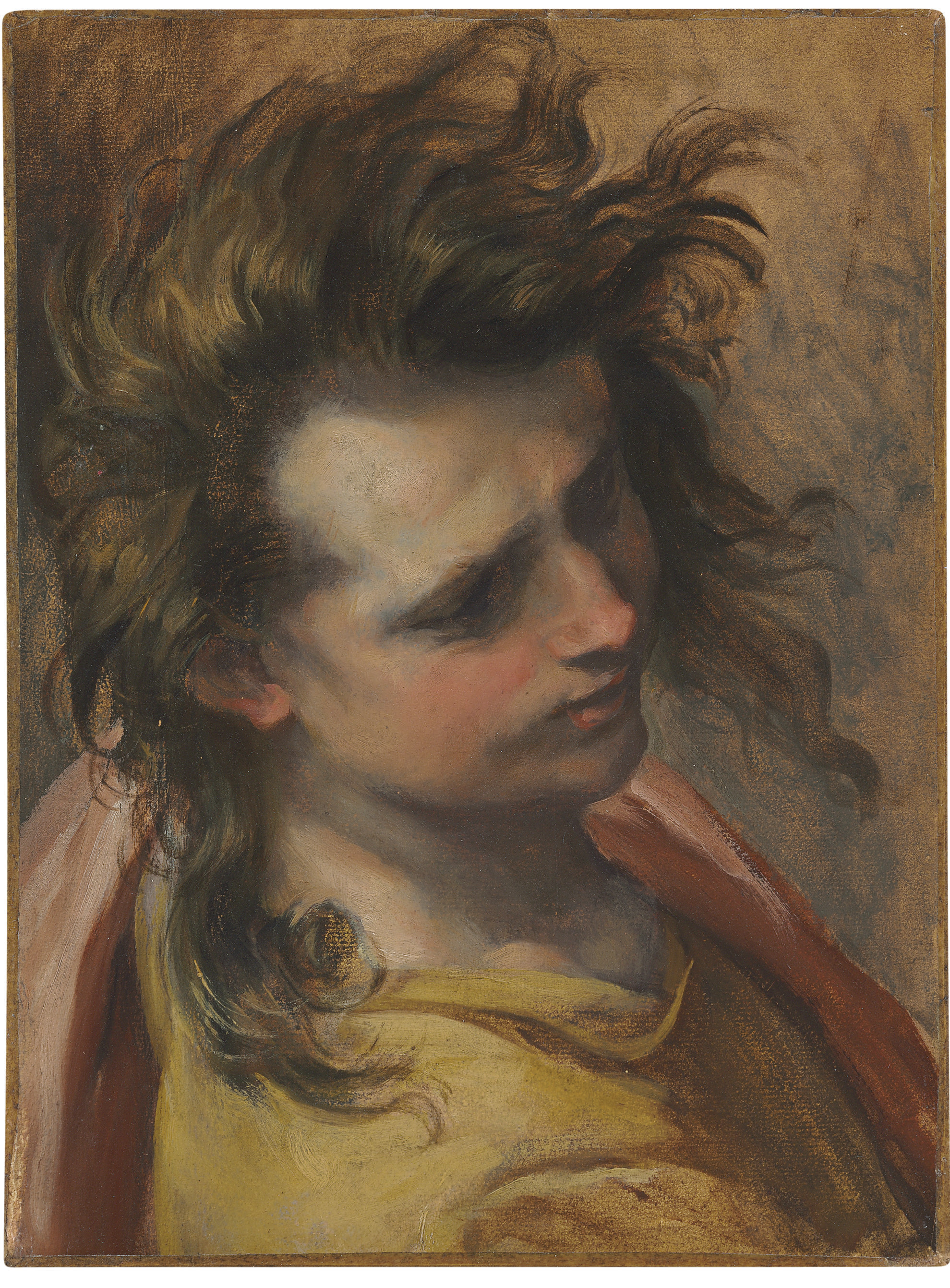 Head of Saint John the Evangelist, an oil study for The Entombment of Christ in the church of Santa Croce, Senigallia