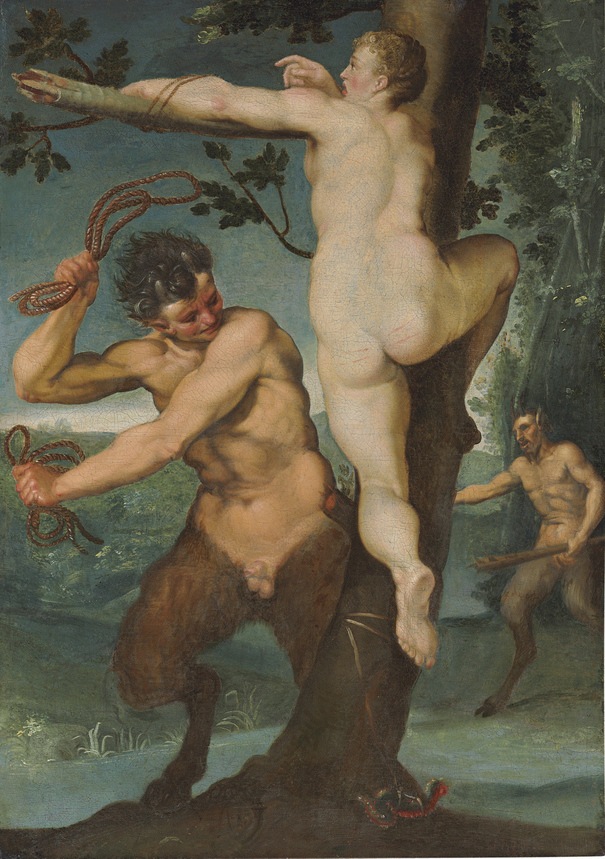 A nymph and two satyrs