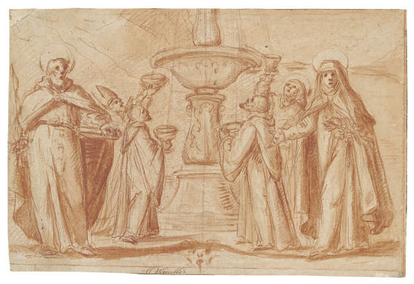 A group of bishops and monks taking water from a fountain, with Saint Paul and Saint Catherine standing in the foreground
