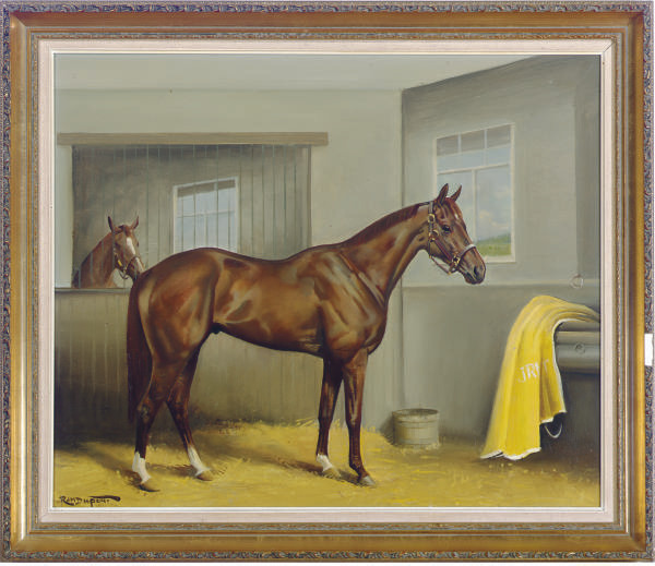 A horse in a stall