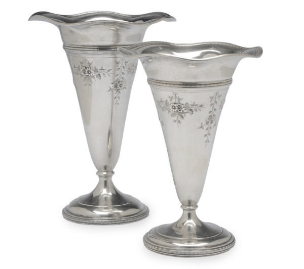 TWO AMERICAN SILVER TRUMPET-FORM VASES IN TWO SIZES,