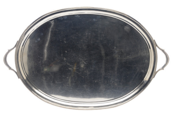 A LARGE AMERICAN SILVER TWO-HANDLED TEA TRAY,