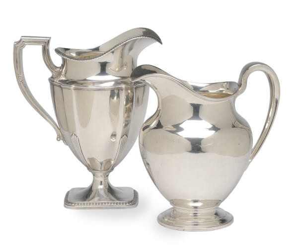 TWO AMERICAN SILVER WATER PITCHERS,