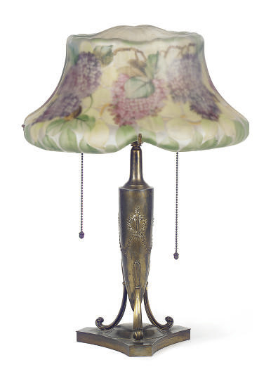 A REVERSE PAINTED AND GILT-METAL TABLE LAMP,
