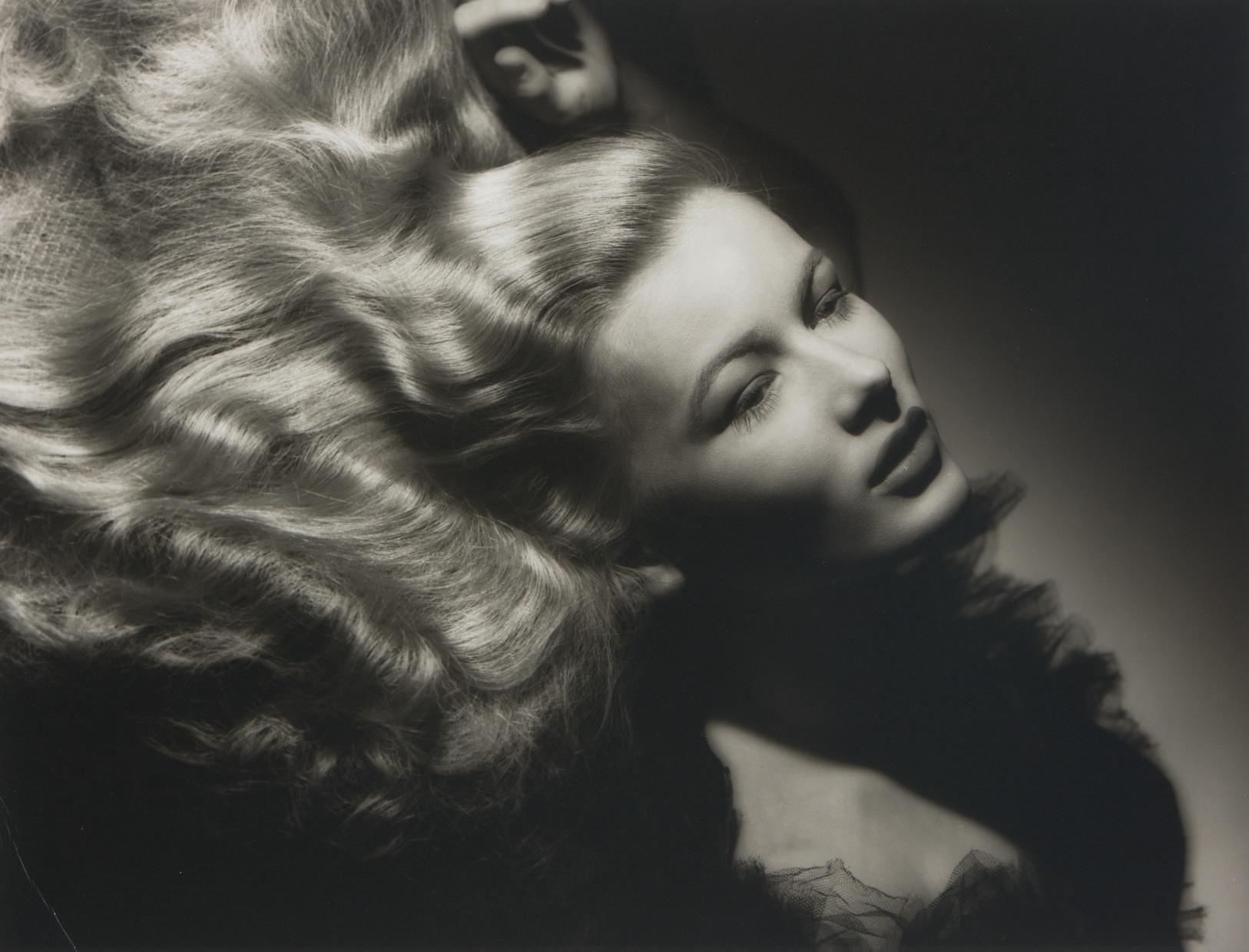 Portraits of Hollywood screen goddesses, Joan Crawford, Veronica Lake (illustrated), Rita Hayworth and Jane Russell, 1932-1946