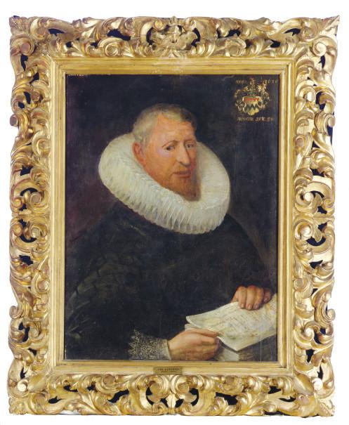 Portrait of a gentleman, three-quarter length, holding the Bible
