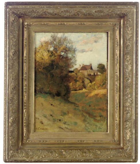 Autumnal landscape with a house in the distance