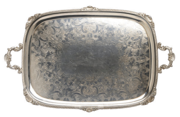 A VICTORIAN SILVER TWO-HANDLED TEA TRAY,