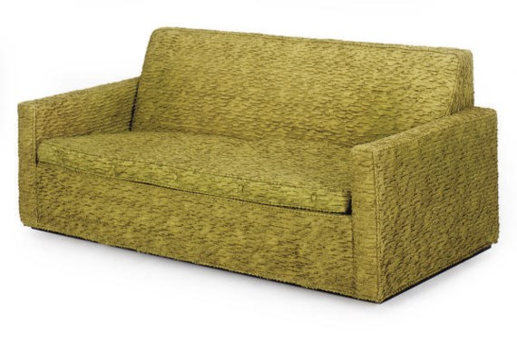 A green chenille and lurex upholostered sofa designed for Green chenille sectional sofa