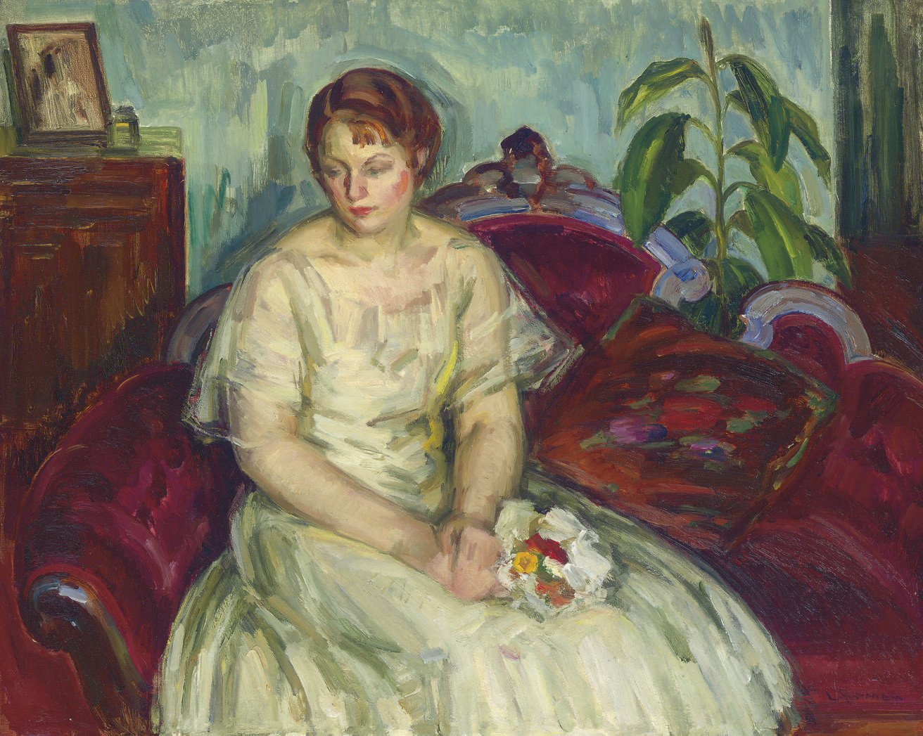 Woman in White Gown