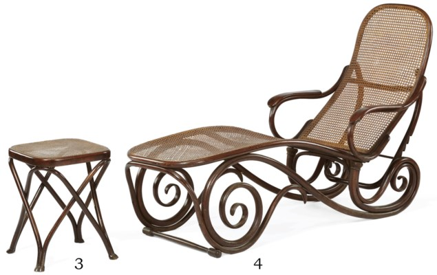 Thonet a bentwood and cane chaise longue no 9702 for Chaise bentwood