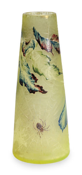 A FRENCH GLASS ETCHED AND ENAMELED VASE,