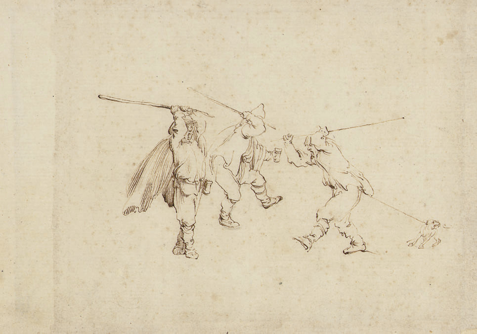Three men fighting with sticks, with a dog tugging the right-hand figure