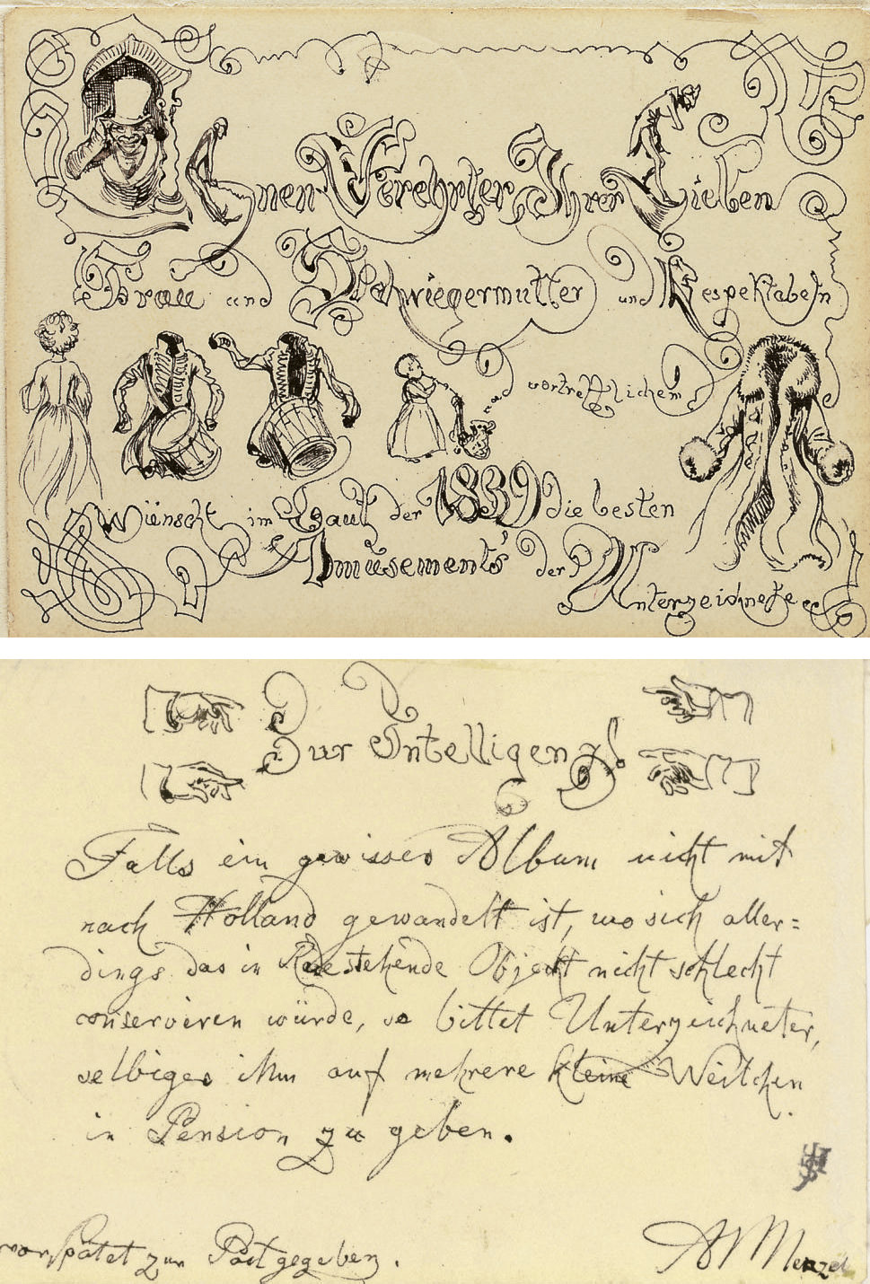 A greeting card from 1839