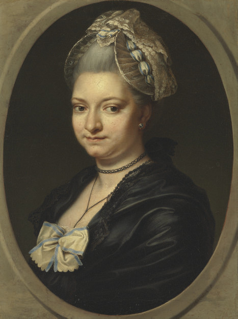 Portrait of a lady, traditionally identified as Pierina Gravaghi, bust-length, in a black dress and white lace bonnet