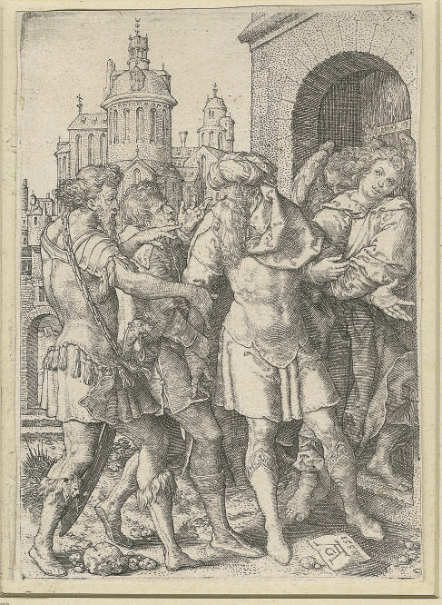 Lot Prevents the inhabitants of Sodom from Violence (Bartsch, Hollstein 15)