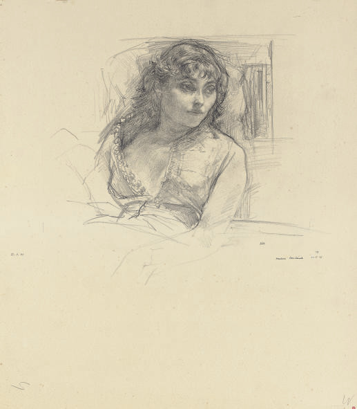 A seated woman looking to her left