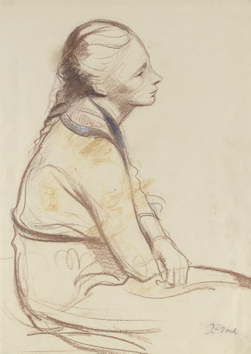 A seated girl with her arms folded in her lap