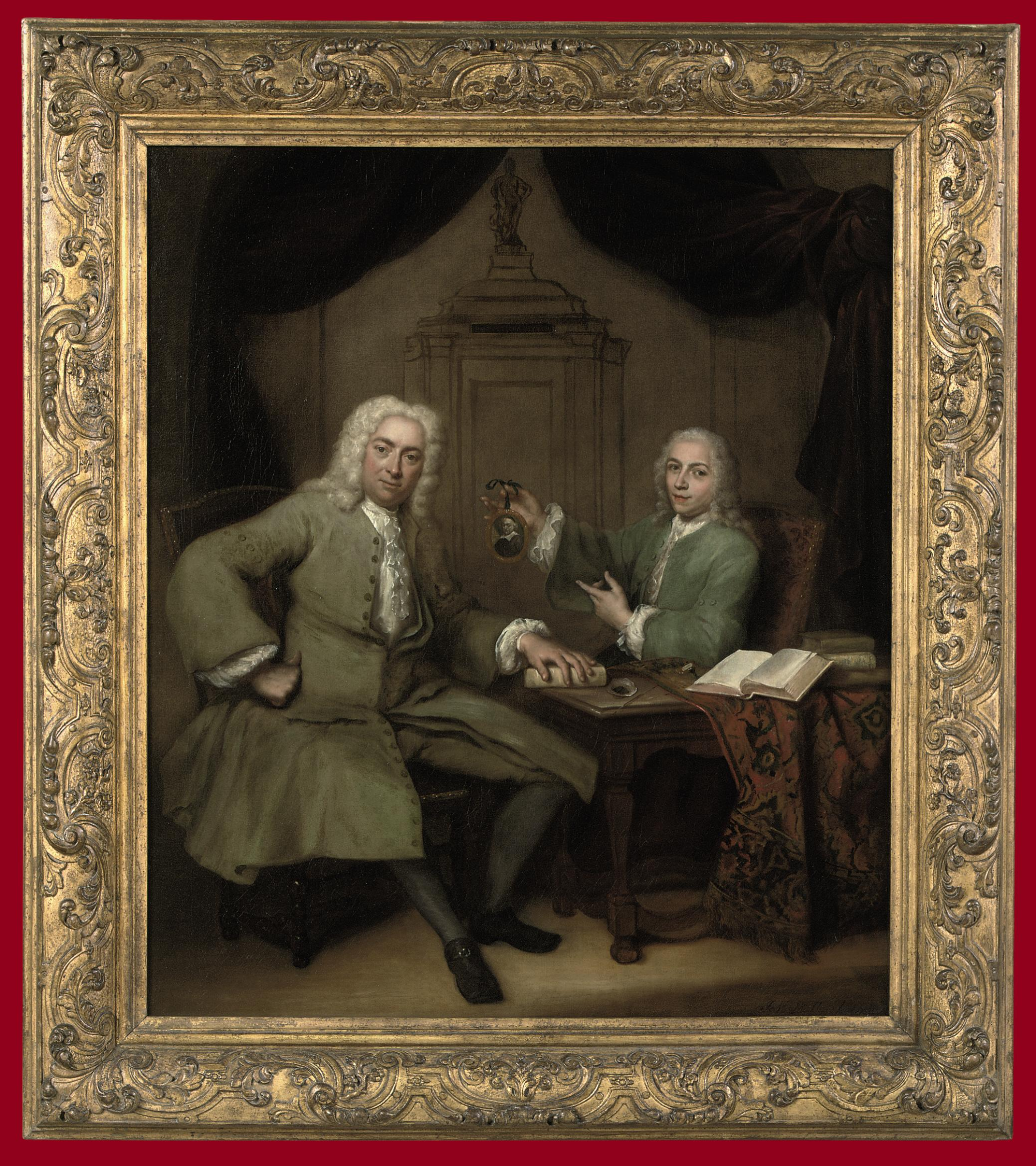 Double portrait of Michiel de Roode (1685-1771) and Jan Punt (1711-1779), holding a miniature portrait of Joost van den Vondel, seated full-length at a table in a decorative room