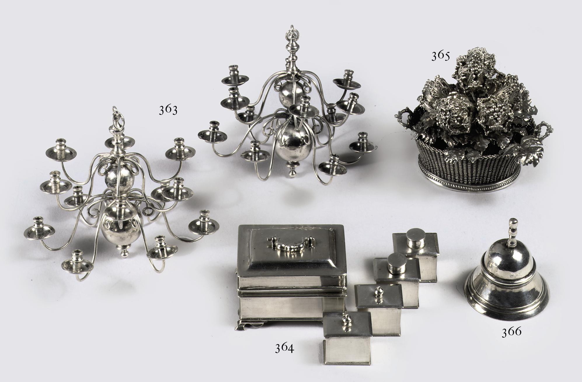 A pair of Dutch silver miniature twelve-light chandeliers