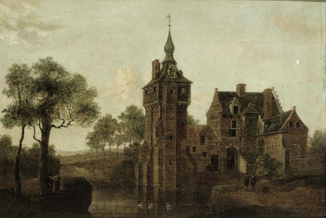 A river landscape with a castle, figures conversing at the waterside