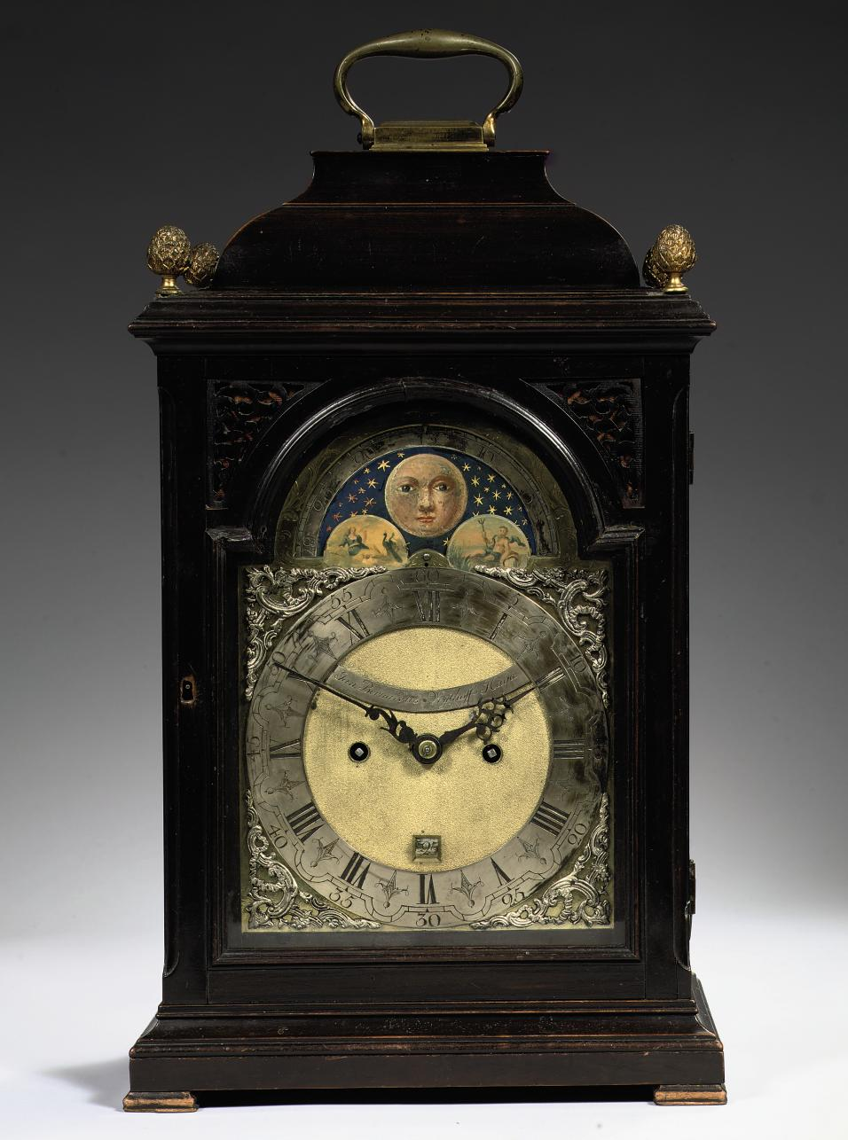 A DUTCH EBONIZED TABLE CLOCK WITH MOONPHASE, DATE AND PULL REPEAT