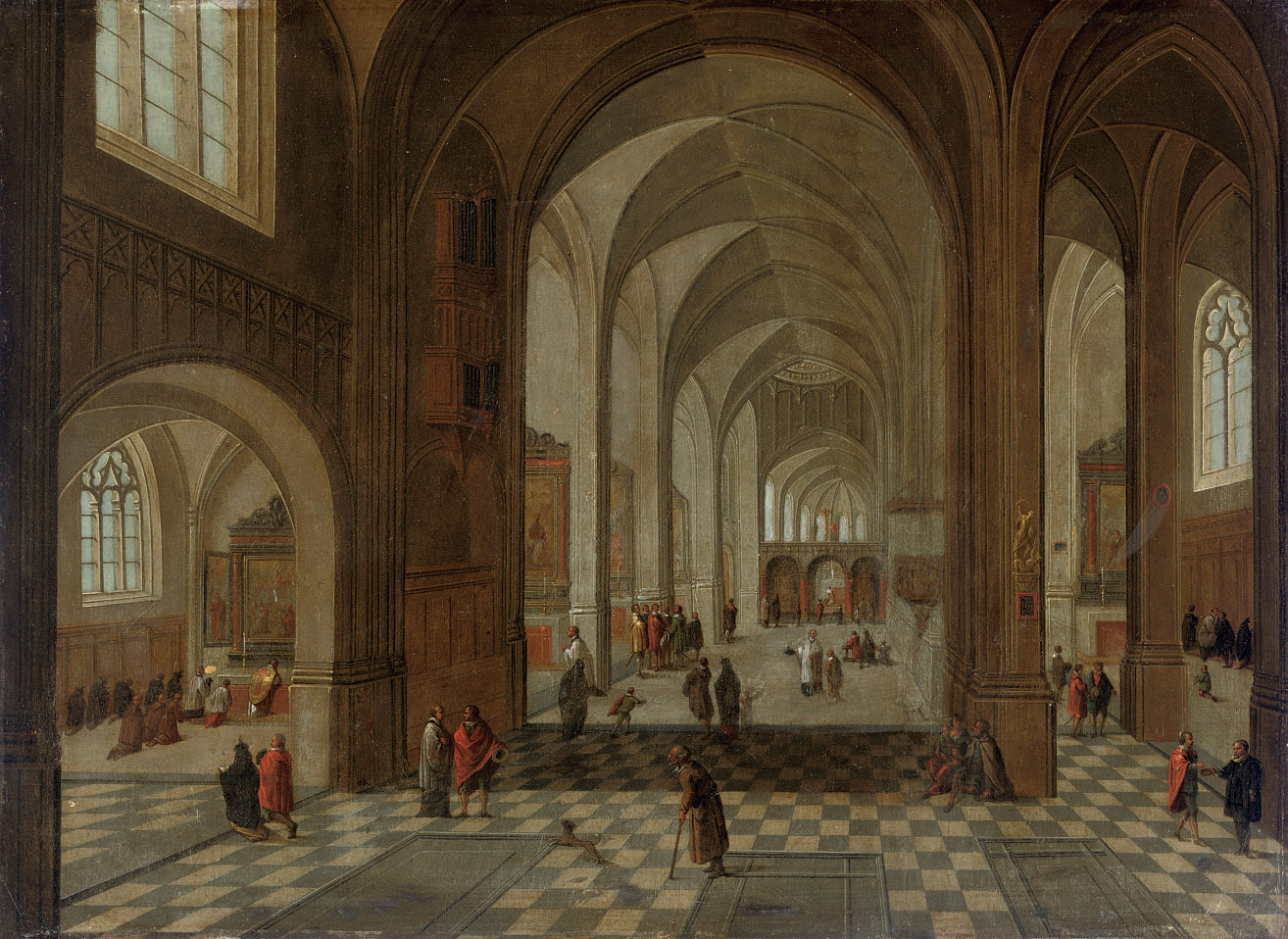 An interior of a Gothic church with elegant figures conversing