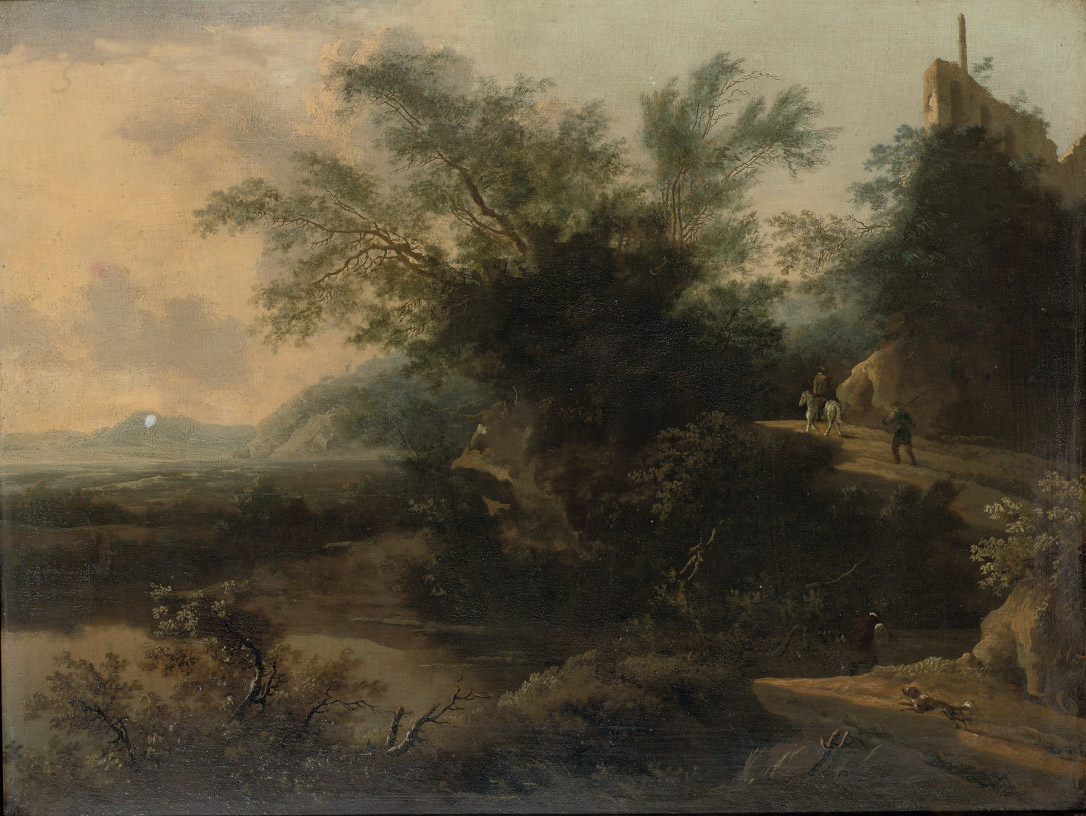 A wooded rocky landscape with travellers