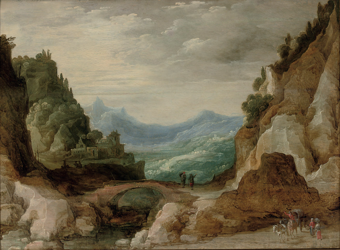 An extensive rocky landscape with travellers by a bridge