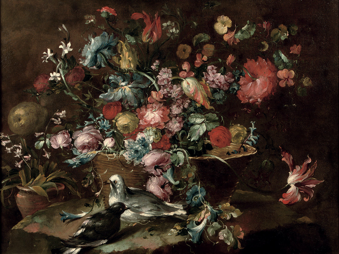 Flowers including roses and tulips in a basket, with a pair of pigeons nearby