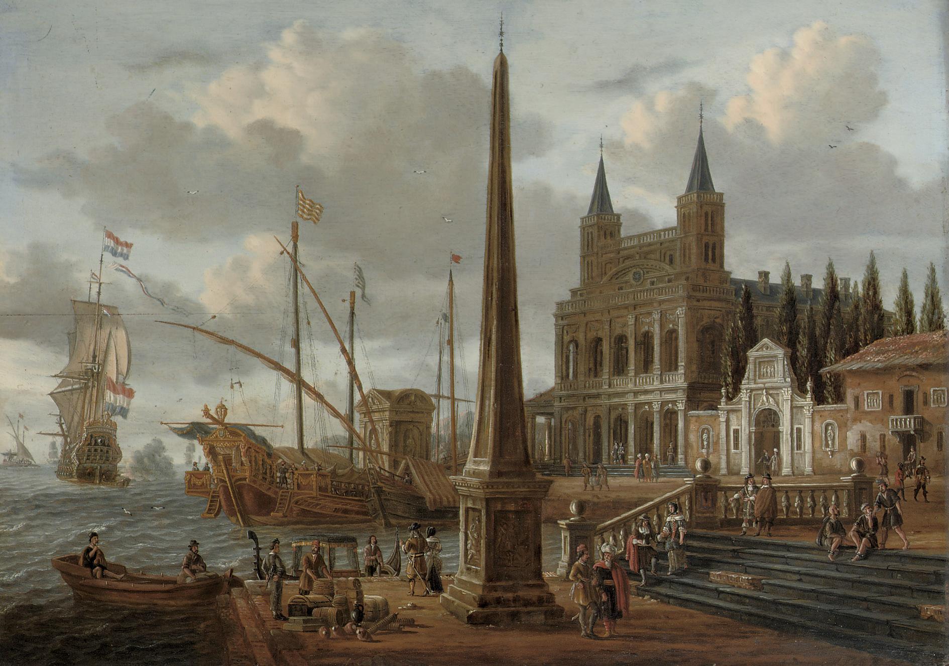 A meditteranean harbour scene with the facade of the Basilica di San Giovanni in Laterano
