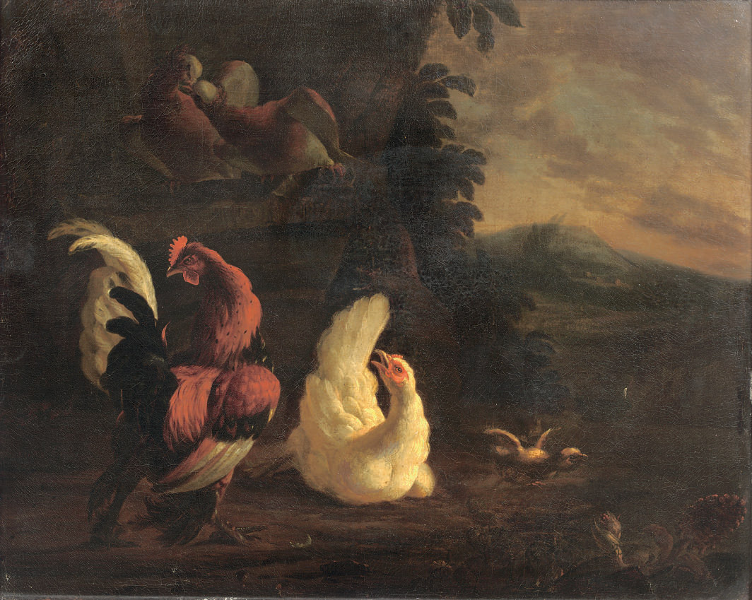 A cockerel and chickens in a landscape