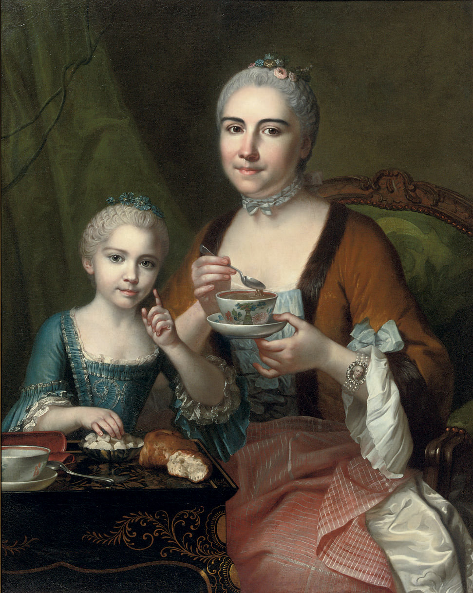Portrait of an elegant lady and her daughter, three-quarter-length, drinking hot chocolate
